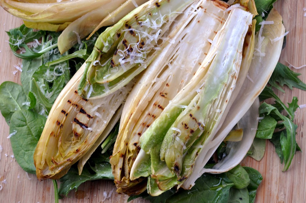 Grilled Endive & Pesto Shrimp - an easy, quick, and healthy recipe.
