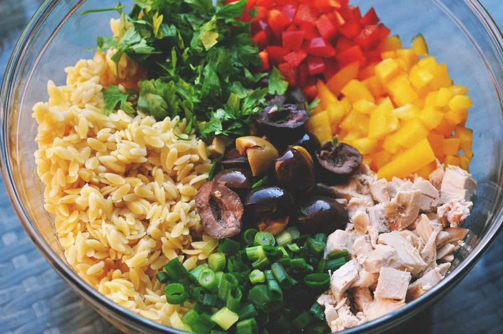Orzo Salad with Chicken, Bell Peppers, Olives, & a Whole Mustard Dressing | Shiny Happy Bright