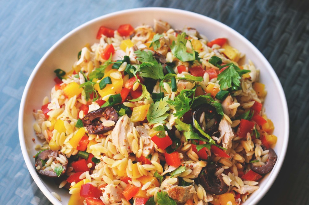 Orzo Salad with Chicken, Bell Peppers, and a Whole Mustard Dressing | Shiny Happy Bright