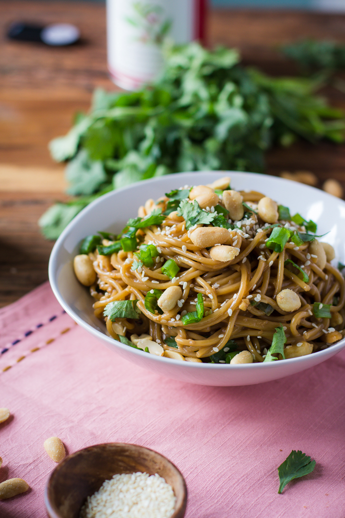 Soy Peanut Noodles from B. Britnell - easy, 30 minute vegetarian recipes.