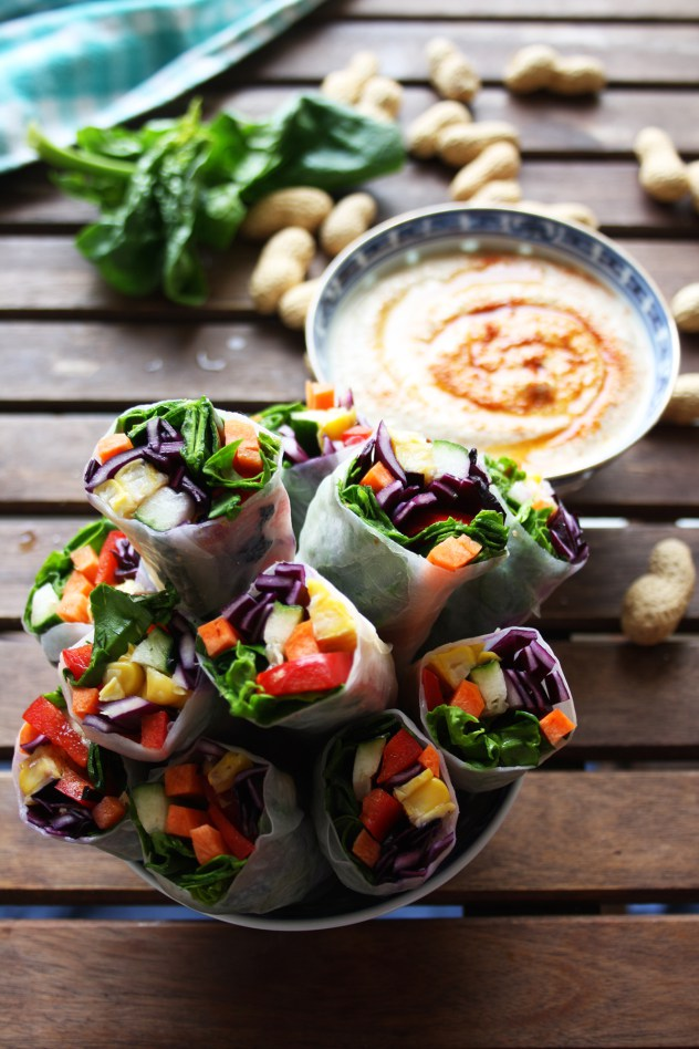 Vegan Spring Rolls with Peanut Sauce from Happy Kitchen Rocks - easy, 30 minute vegetarian recipes.