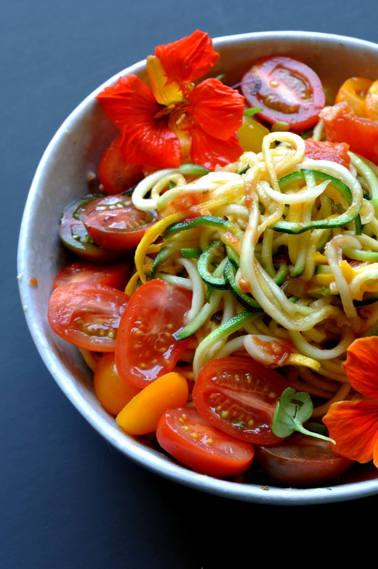Zucchini Noodles with Roasted Tomato Sauce - easy, vegetarian recipes in under 30 minutes.
