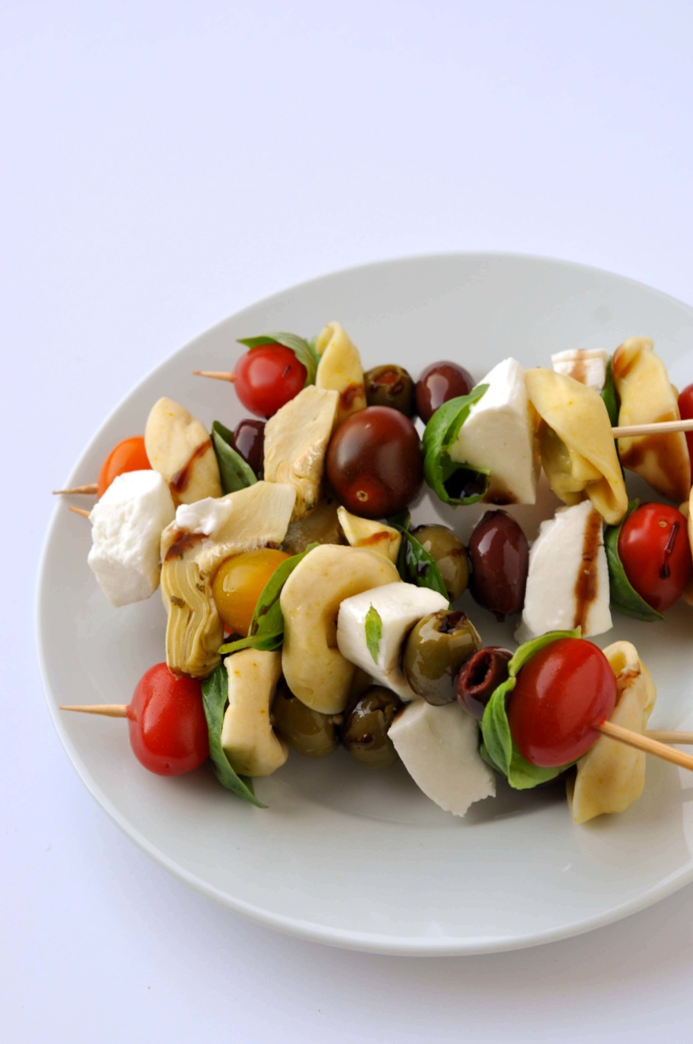 Antipasto Skewers from Shiny Happy Bright - easy, vegetarian recipes in under 30 minutes.