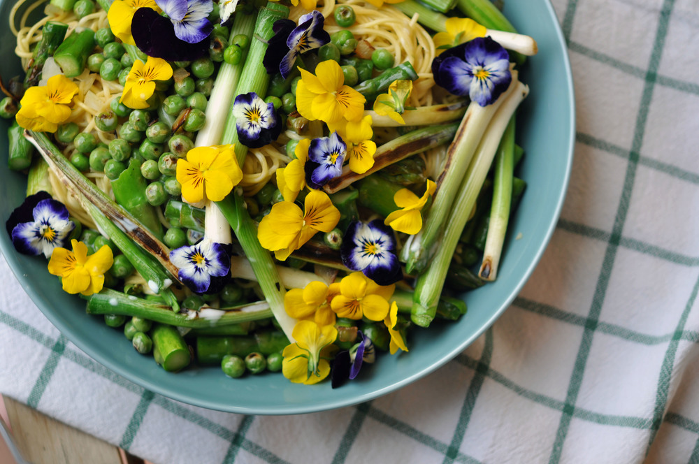 Springtime Pasta Salad with Baby Leeks, Peas & Asparagus - a delicious, vegetarian recipe.