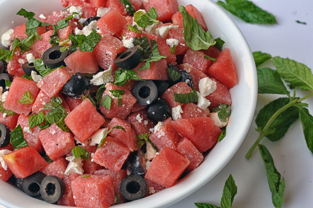 Watermelon & Olive Salad with Feta Cheese. A delicious, refreshing, and vegetarian summer salad. | Shiny Happy Bright