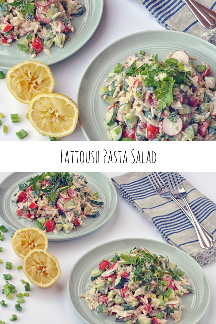 Fattoush Pasta Salad with orzo, radishes, tomatoes, and cucumber. A delicious, vegetarian recipe. | Shiny Happy Bright