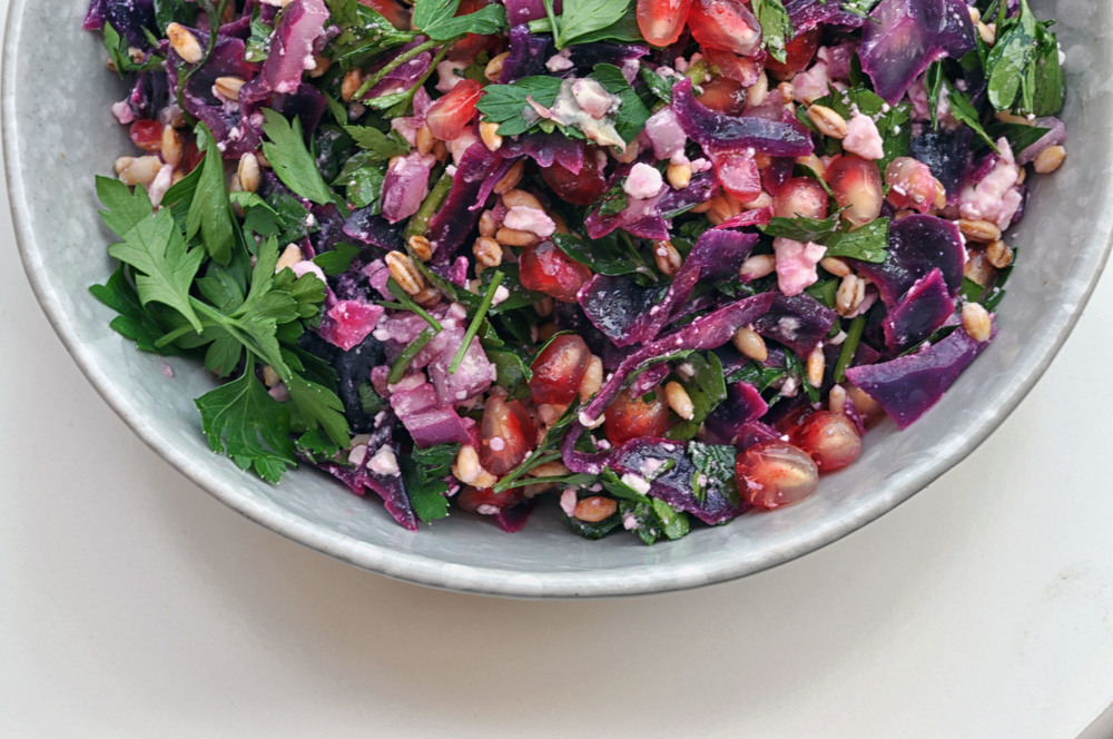 Tabbouli Salad made with purple cabbage, bulgur, feta cheese, pomegranate, and parsley. A healthy, beautiful vegetarian salad | Shiny Happy Bright