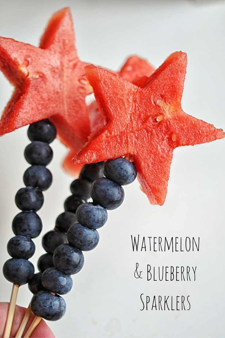 Watermelon and Blueberry Sparklers - an easy, cute way to celebrate the 4th of July. #vegan #vegetarian | Shiny Happy Bright
