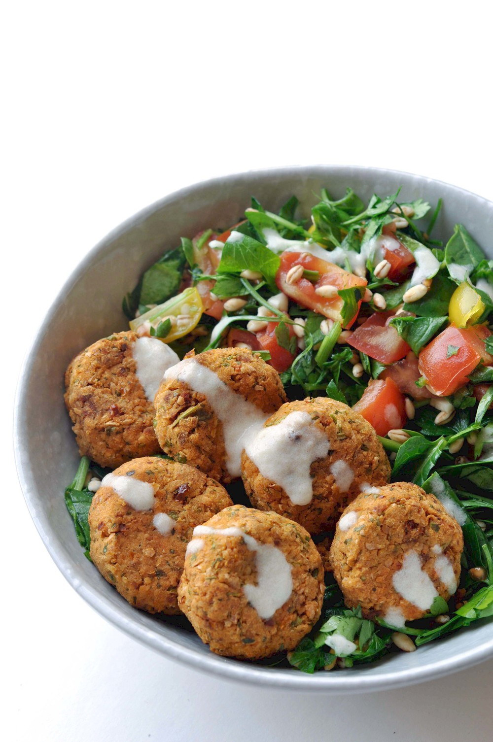 Sun-dried Tomato Falafel with Tahini Sauce from Shiny Happy Bright