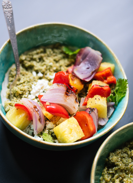 Freekeh with Basil-Cilantro Pesto and Grilled Pineapple Skewers from Cookie & Kate