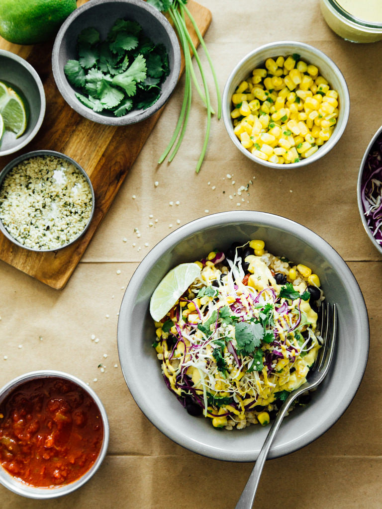 Spice Black Bean Burrito Bowls with Cashew + Hemp Seed Chipotle Sauce from Oh, Ladycakes