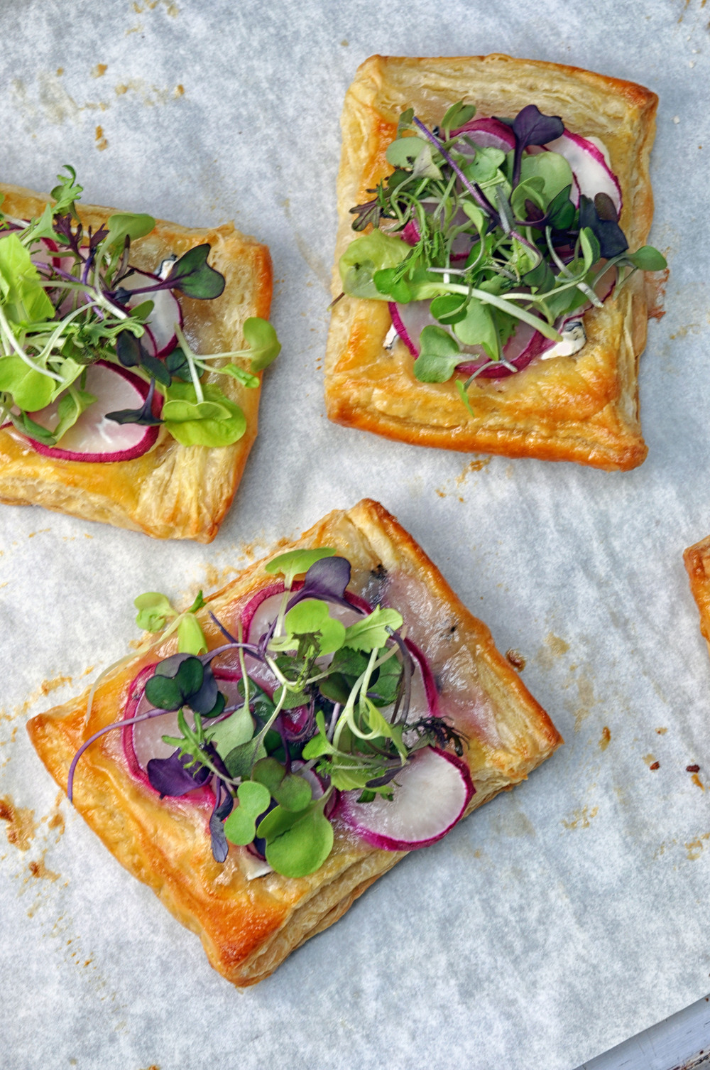 Mini Radish Puff Pastry Tarts - a simple, vegetarian appetizer or snack | Shiny Happy Bright