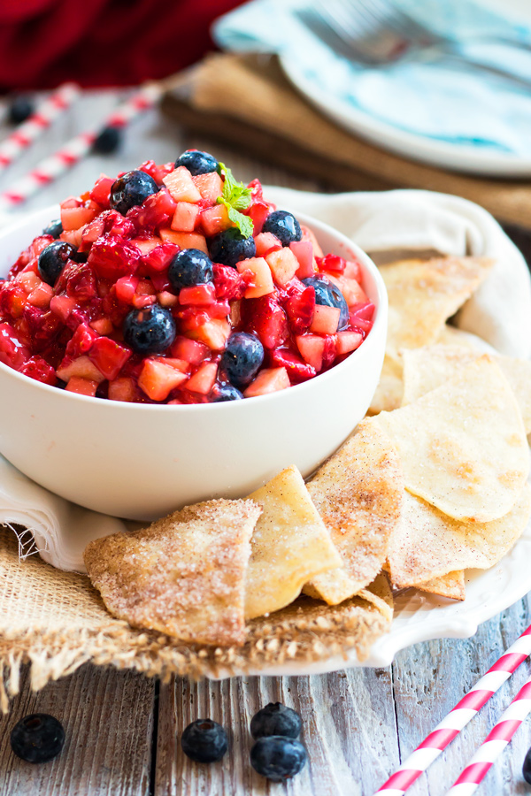 Very Berry Fruit Salsa with Sopapilla Chips from GF with LB.