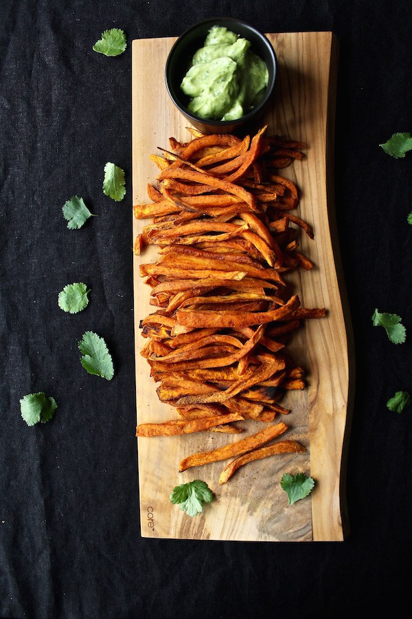 Smoky & Spicy Baked Sweet Potato Fries from Bessie Bakes