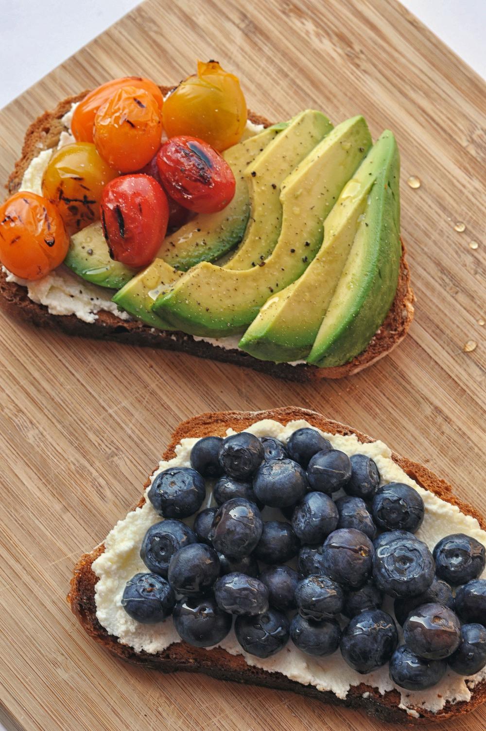 Ricotta Toasts Two Ways from Shiny Happy Bright.