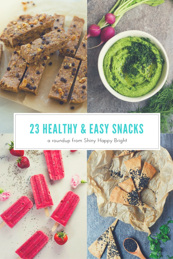 23 healthy and delicious snacks that are easy to make. All are vegetarian, some are vegan. | a roundup from Shiny Happy Bright