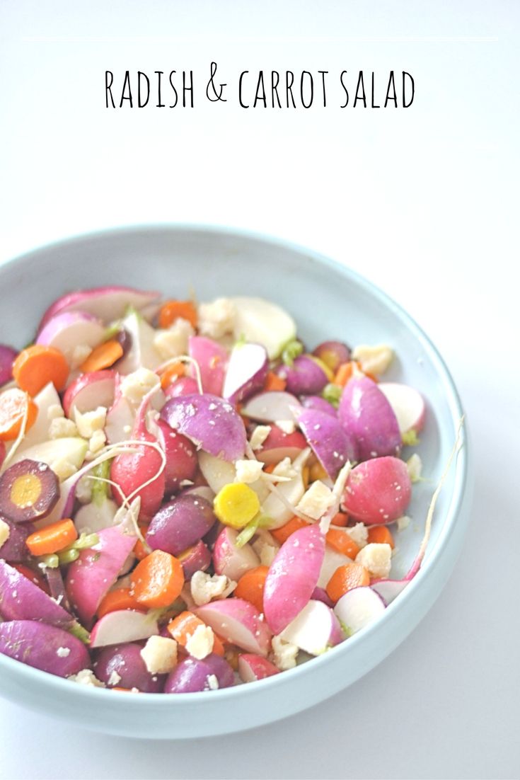 Radish & Carrot Salad with Parmesan. A delicious, simple vegetarian salad | Shiny Happy Bright