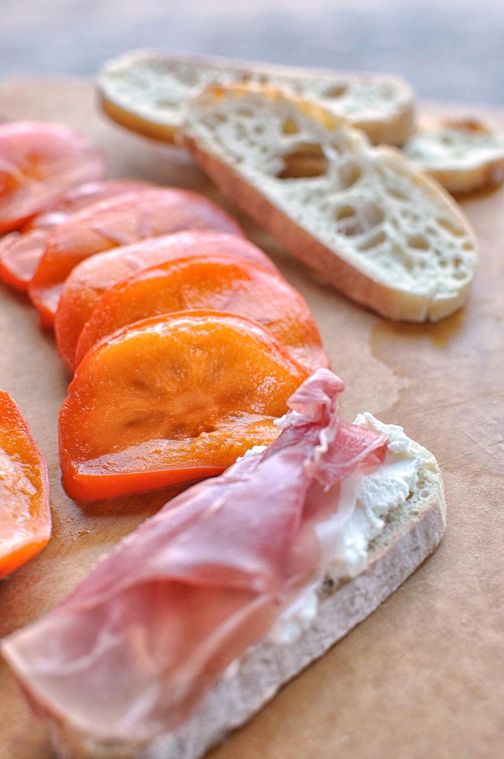 Persimmon Prosciutto Crostinis with Ricotta & Thyme   Shiny Happy Bright