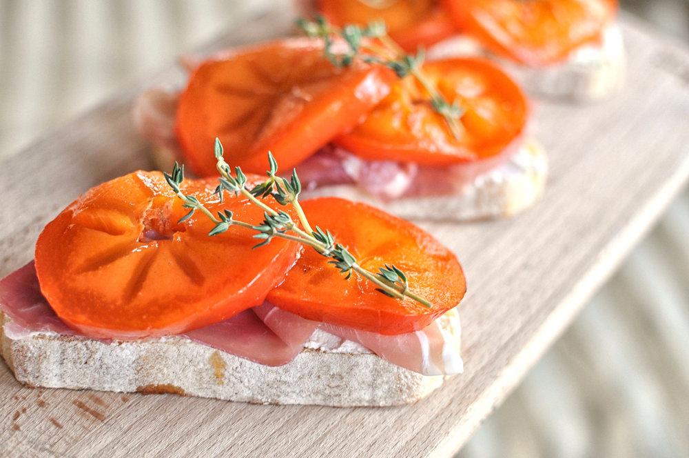 Persimmon Prosciutto Crostinis with Ricotta & Thyme | Shiny Happy Bright