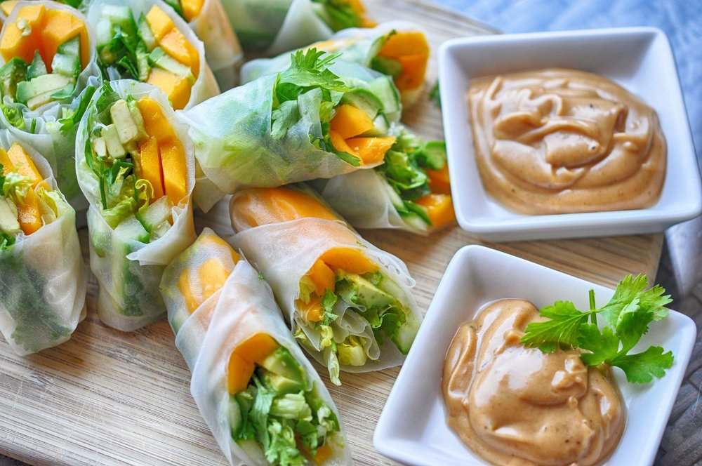 Tropical Summer Rolls with a Peanut Dipping Sauce | Shiny Happy Bright