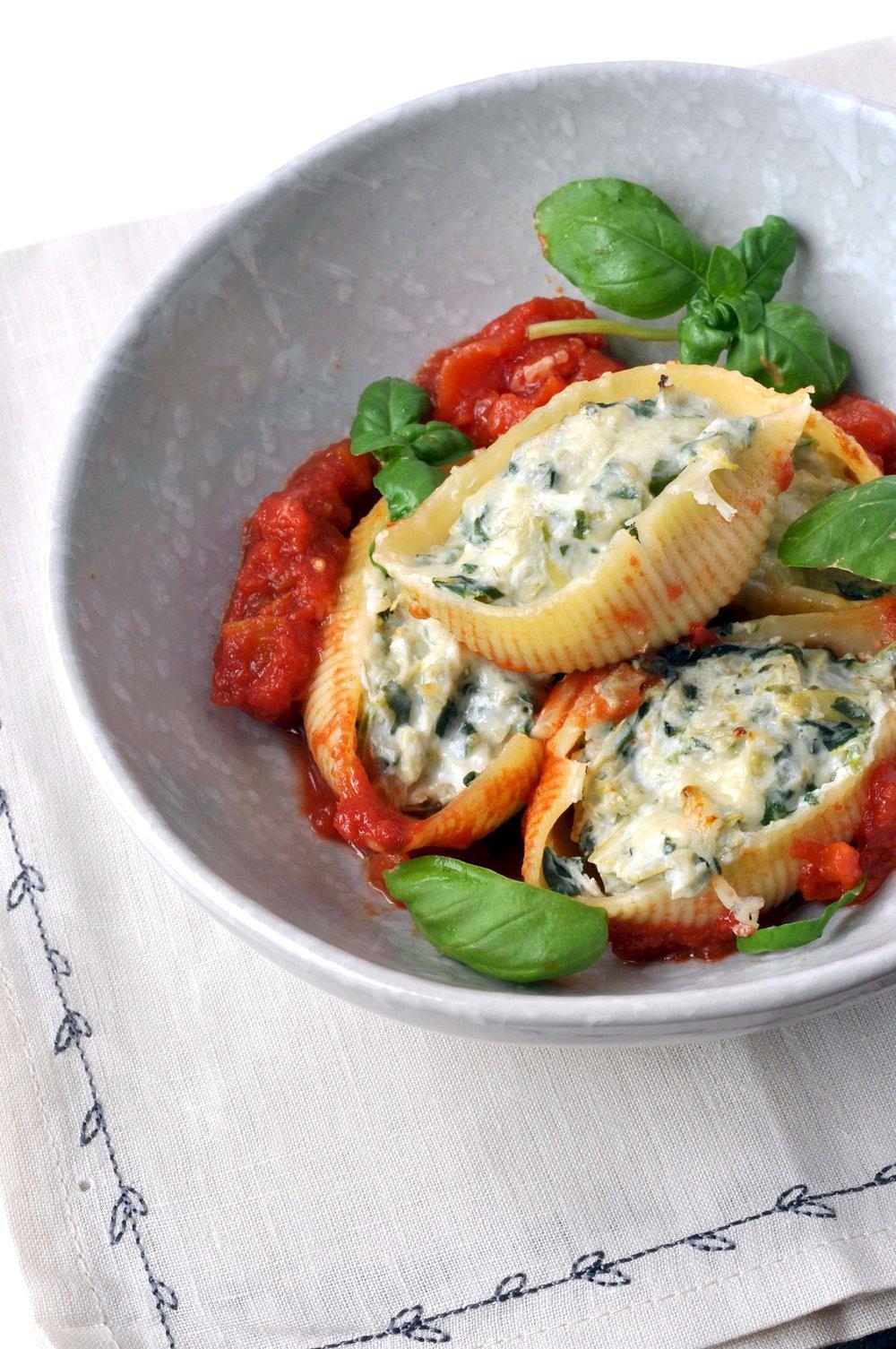 Spinach Artichoke Stuffed Pasta Shells | Shiny Happy Bright