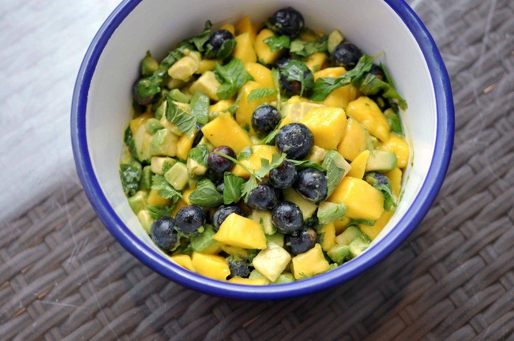 Simple Mango Avocado Salad with Blueberries | Shiny Happy Bright