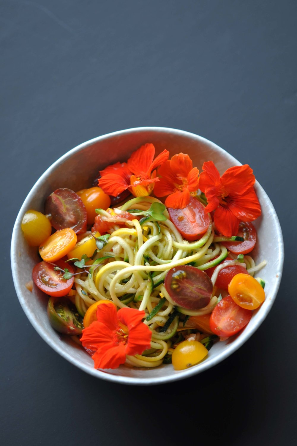 Zucchini Noodles with Tomato Sauce & Edible Flowers | Shiny Happy Bright