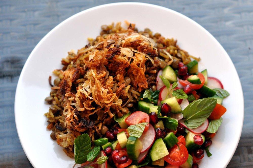 Mujaddara - Lentils, Rice, & Carmelized Onions - with a Veggie Salad | Shiny Happy Bright