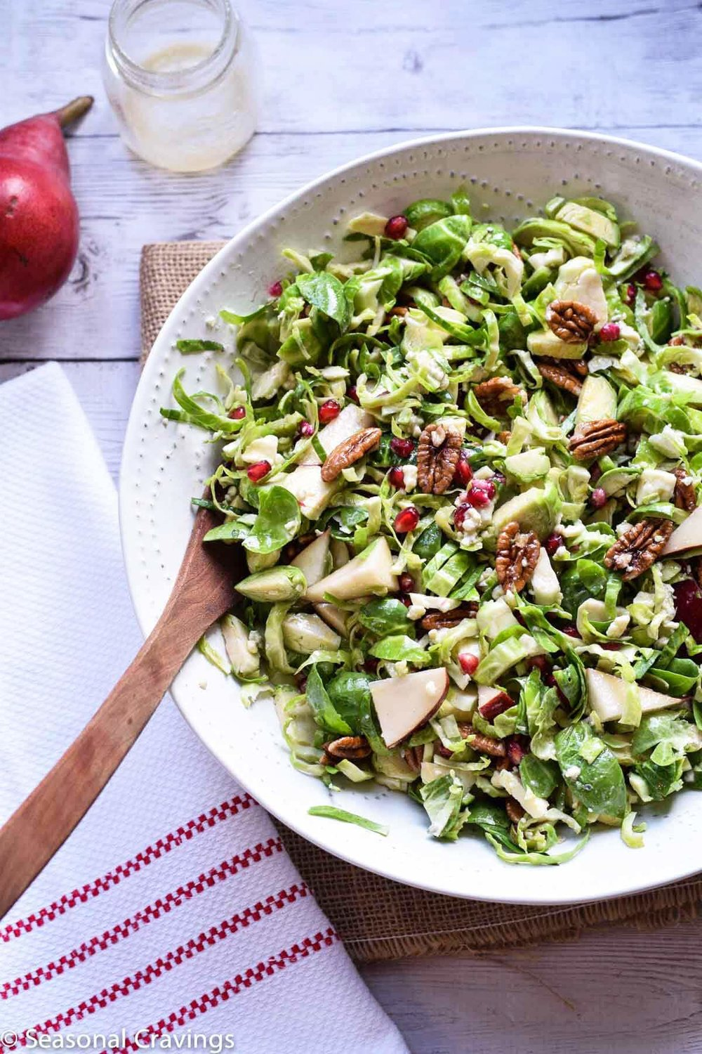 Brussels Sprouts Salad with Pear and Pomegranate from Seasonal Cravings | A roundup from Shiny Happy Bright