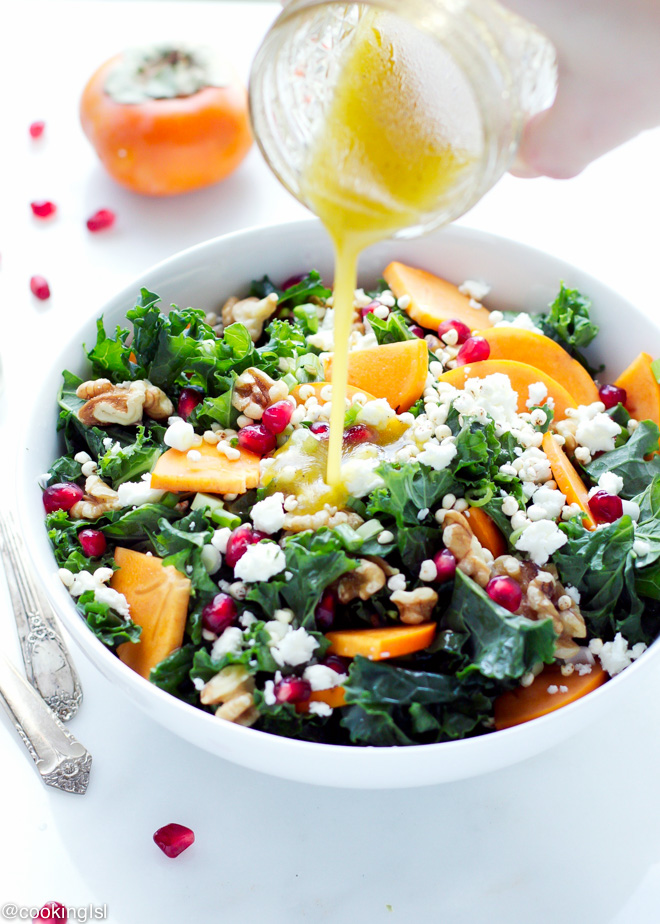 Kale Persimmon Salad from Cooking LSL | A roundup from Shiny Happy Bright