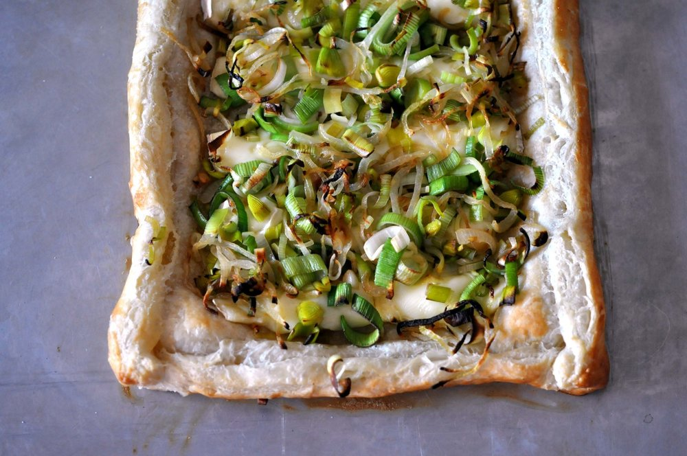 Leek & Onion Puff Pastry Tart from Shiny Happy Bright