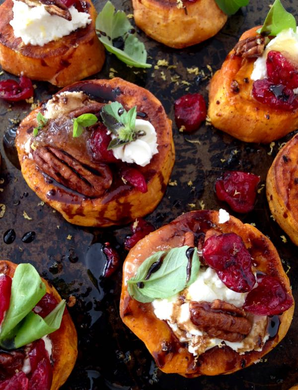 Sweet Potato Rounds with Goat Cheese from Ciao Florentina | Shiny Happy Bright