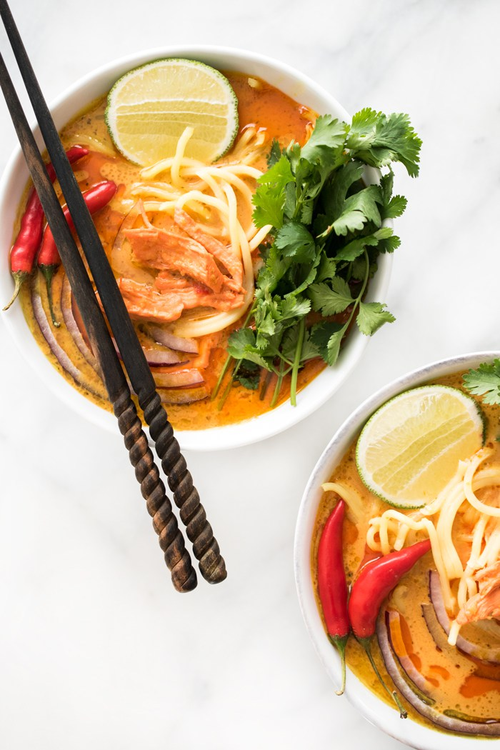 Spicy Thai Curry Noodle Soup from Hapa Nom Nom | Shiny Happy Bright