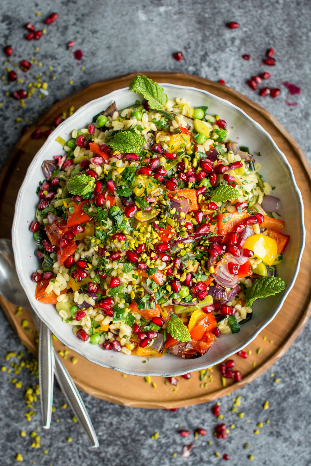 Wheat Berry Risotto with Winter Roasted Vegetables from Lauren Caris Cooks | A roundup from Shiny Happy Bright