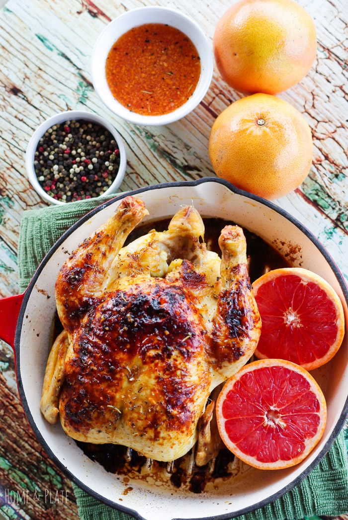 Ruby Red Grapefruit Honey Glazed Skillet Chicken from Home and Plate | A roundup from Shiny Happy Bright