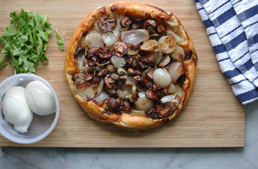 Shallot & Mushroom Tarte Tatin with Burrata | Shiny Happy Bright