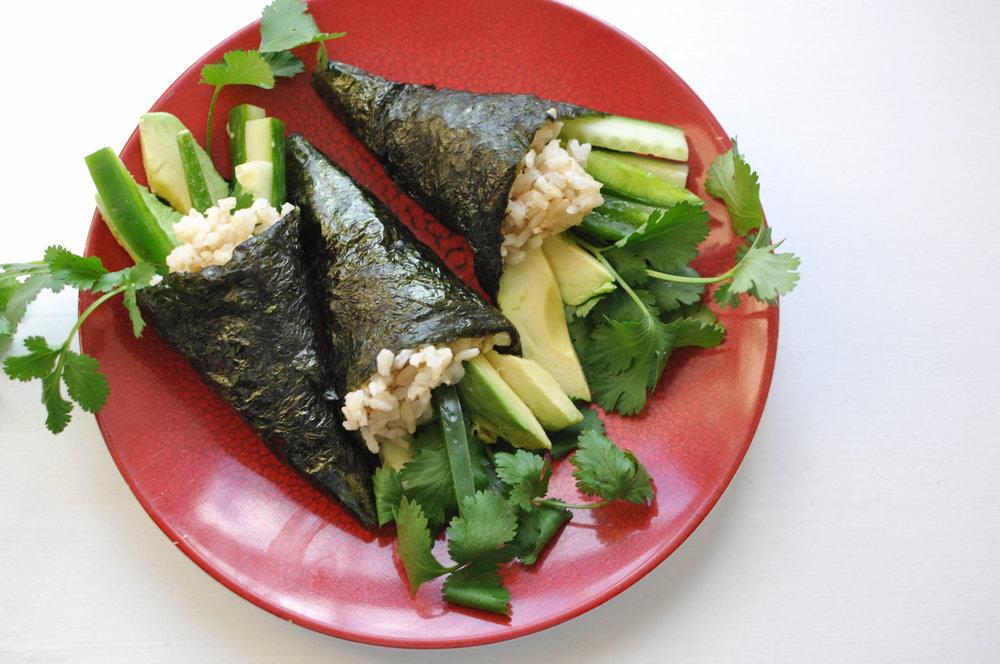Vegan Hand Rolled Sushi (Temaki) | Shiny Happy Bright
