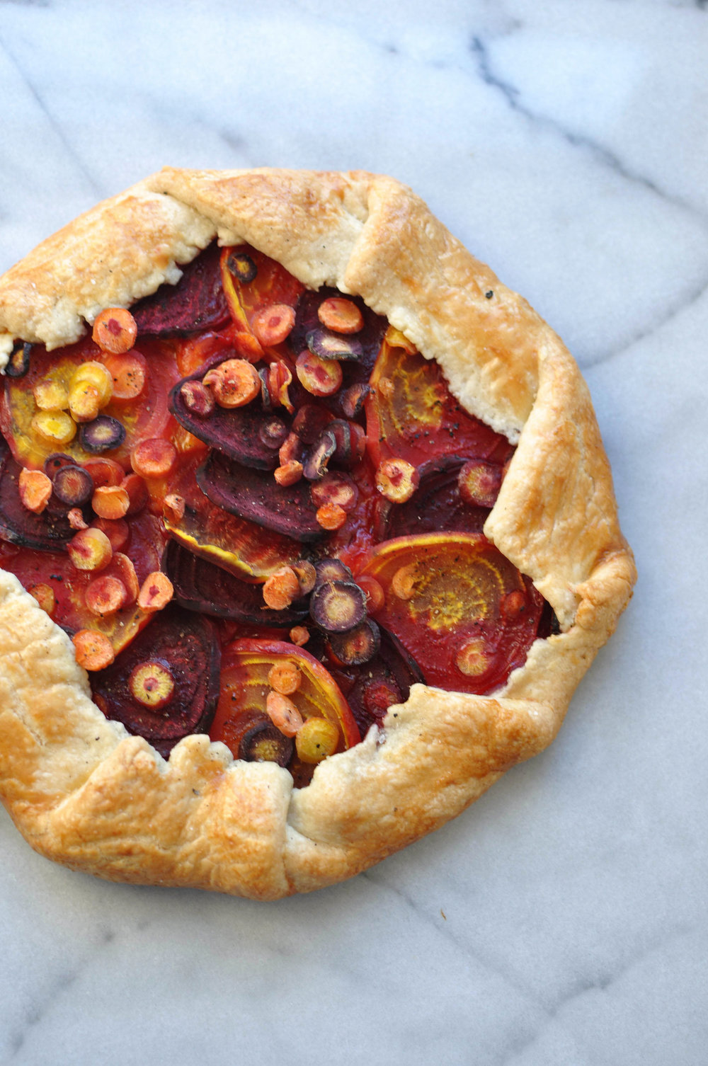 Beet and Carrot Galette with Gouda. A delicious, vegetarian dinner | Shiny Happy Bright