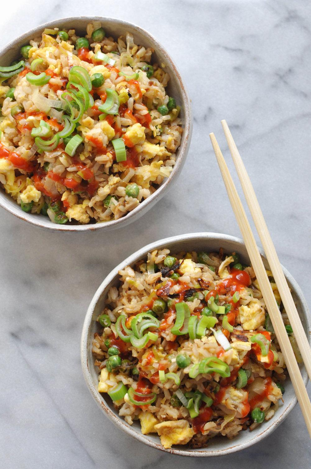Leek & Pea Fried Rice. A vegetarian main dish | Shiny Happy Bright
