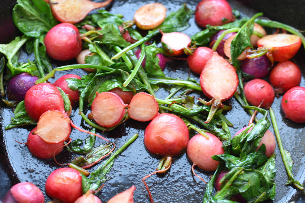 Brown Butter Radishes with Lemon. A flavorful, healthy side salad (vegetarian) | Shiny Happy Bright