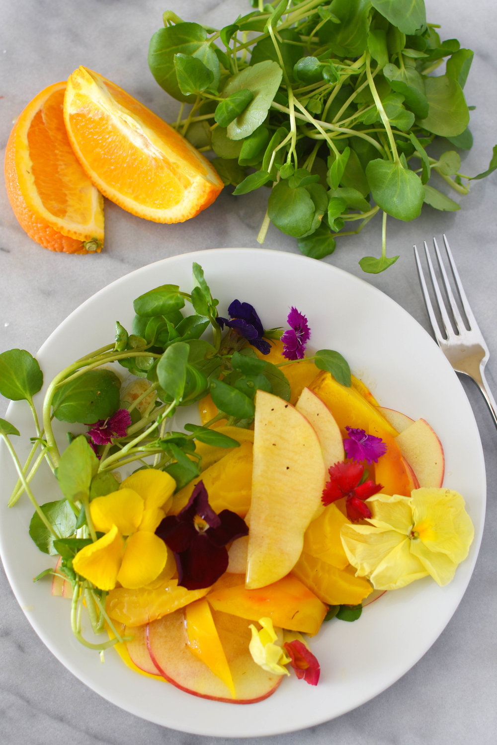 Beet, apple, and watercress salad with a zesty dressing. A wonderful, vegan side salad or main course | Shiny Happy Bright