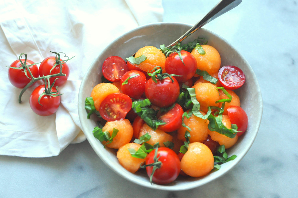The Simplest Salad - Tomatoes & Cantaloupe