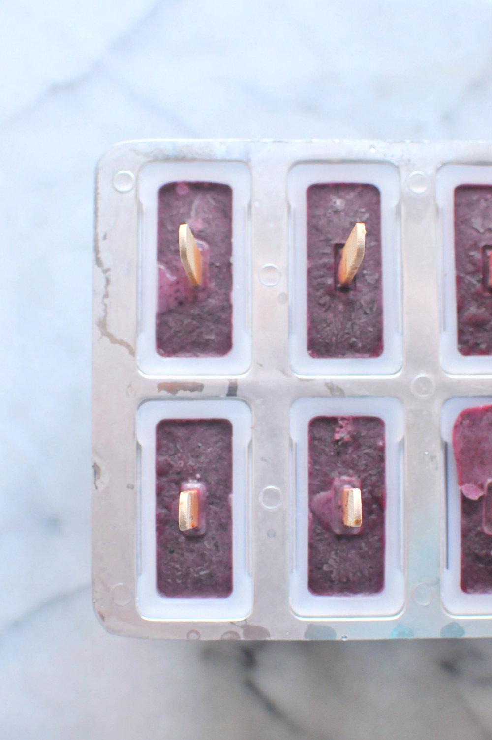 Blueberry Basil Coconut Milk Popsicles. A refreshing dessert | Shiny Happy Bright