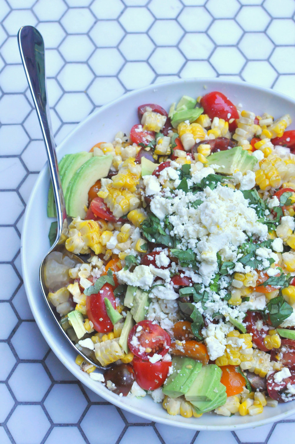 Grilled Corn Salad - a delicious, vegetarian recipe. A perfect summer side dish or main course | Shiny Happy Bright
