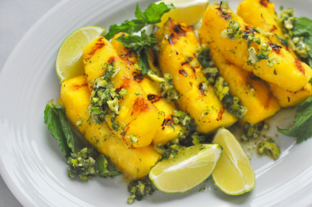 Grilled Pineapple with Lime Mint Sauce - a healthy, fruity dessert (vegan)   Shiny Happy Bright