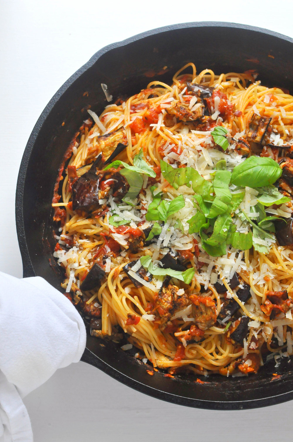 Pasta All Norma - a Sicilian pasta dish with eggplants, tomatoes, cheese and basil. A hearty, vegetarian recipe | Shiny Happy Bright