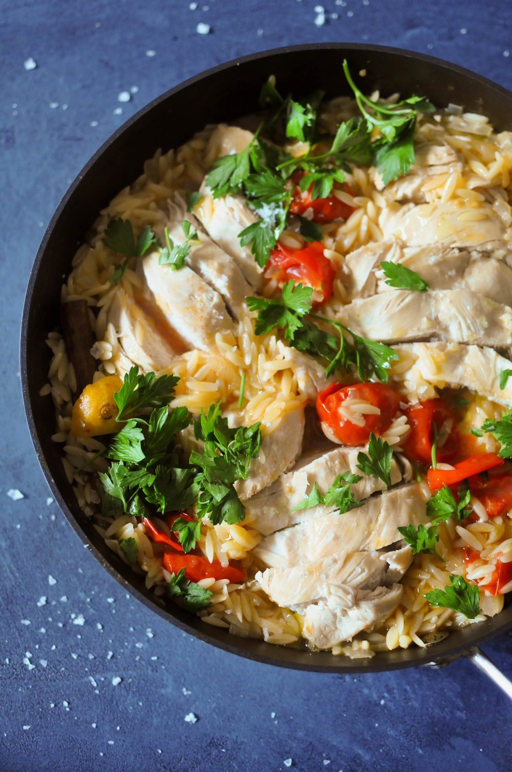Chicken with preserved lemon and orzo | Shiny Happy Bright