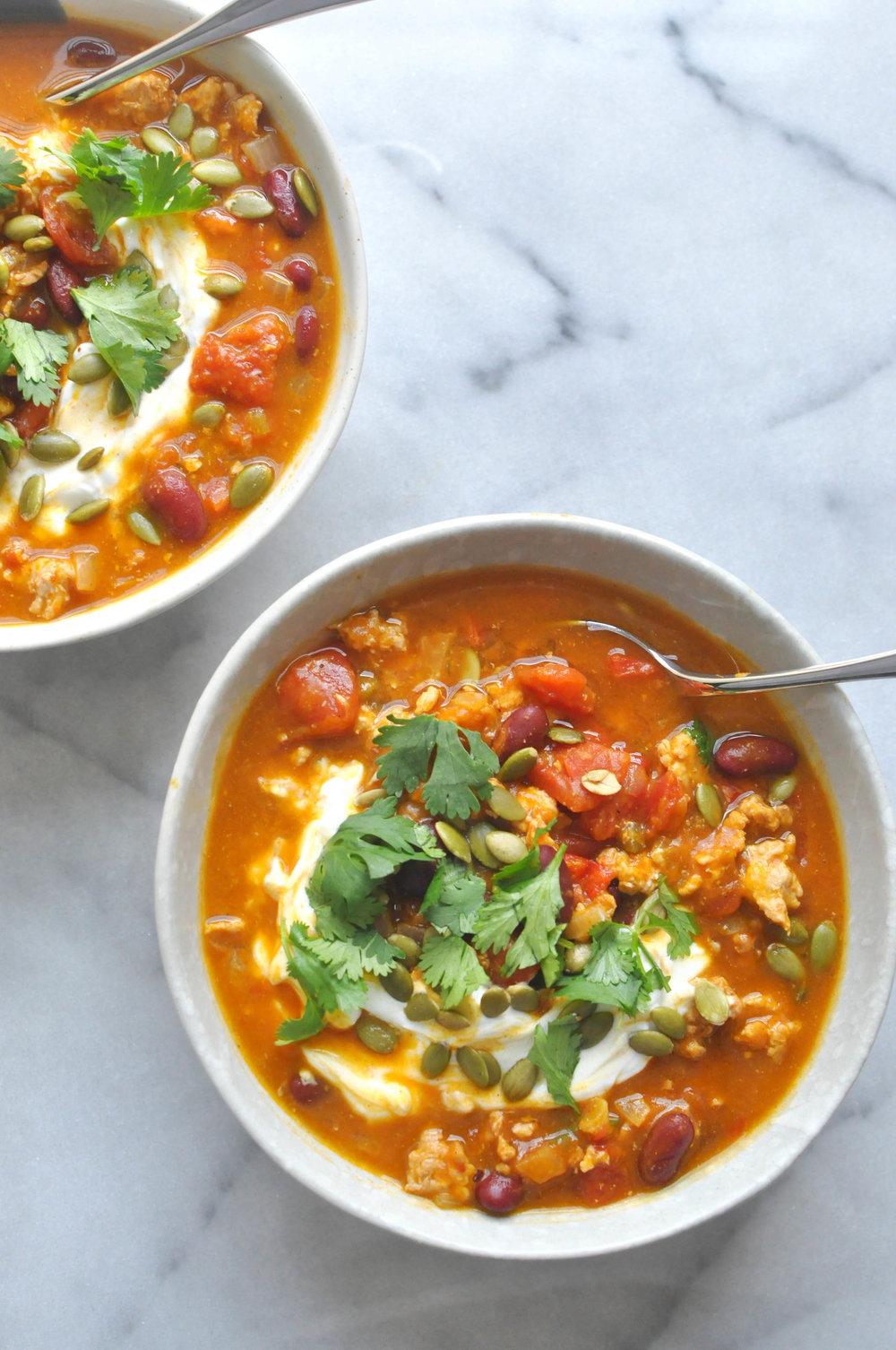 Slow Cooker Turkey Pumpkin Chili Recipe is a delicious dinner | Shiny Happy Bright