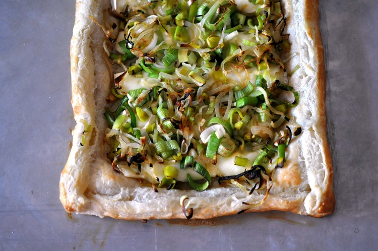 Leek Shallot and Puff Pastry Tart from This Healthy Table.