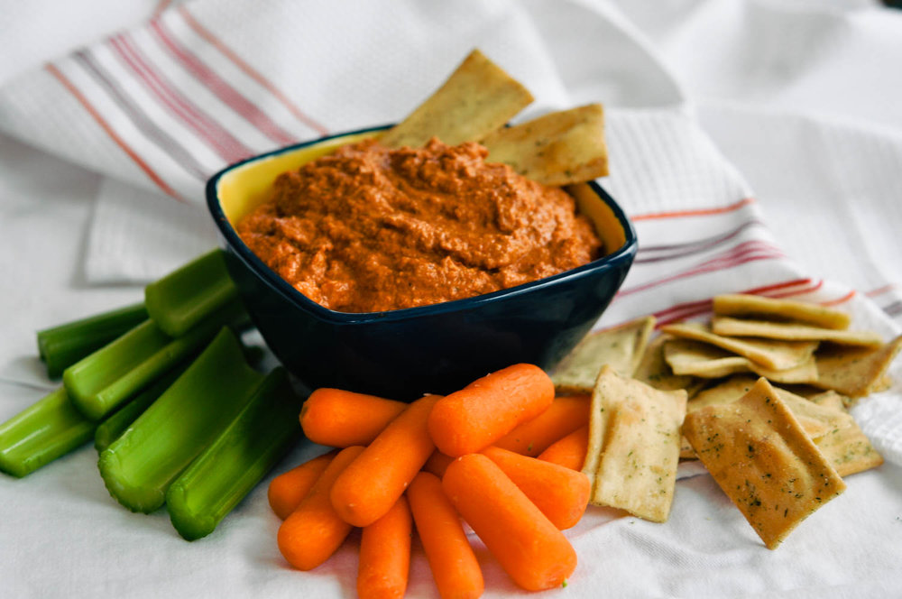 Muhammara (Spicy Red Pepper) Dip with Pita Chips | This Healthy Table